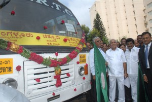 Chief minister B S Yadiyurappa flagged off for environment friendly Buses of ksrtc on 05.06.2009. Sri Jaggesh ,Dy chairman for ksrtc also seen.