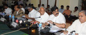 Chief Minister B S Yaddyurappa discussed with All Party Floor Leaders on Special Lagislative Assembly Council Session to be Held on 9th  September 2009 Revenue Minister Karunakara Reddy,. Minoor Irrigation Minister Govind Karjol Congress Party Dy Leader T B Jayachandra,JDs leeder H D Revanna,Opposition leader in Lagislative Council Ugrappa see in pic