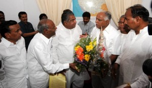 Chief Minister B S Yaddyurappa discussed with MP & Former Chief Minister N Dharam Singh deligation.Yadgir MLA Malaka Reddy seen in pic