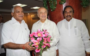 The Karnataka Chief Minister Mr B. S. Yeddyurappa called on the Union Minister for Power Mr Sushil Kumar Shinde in New Delhi          on August 6 and sought additional 500 MW of Power from the Central Grid. The Minister for Power Mr K. S. Eshwarappa looks on