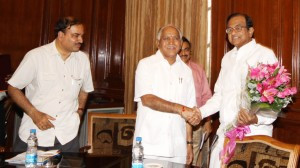 Chief Minister B S Yaddyurappa discussed with Union Home Minister P Chidambaram @ New Delhi,MP Anantha Kumar seen in pic