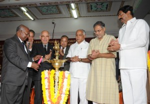 Chief Justice of Supreme Court of India inaugurated seminar on   Building & Other construction Workers . H E Governor of Karnataka H R Baradwaj,Chief Minister B S Yaddyurappa,Law Minister Suresh Kumar & Labour Minister B N Bache Gowda seen in pic