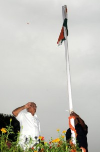 Chief minister B S Yeddyurappa Flag Hoisted at  official residence on 15.08.2009