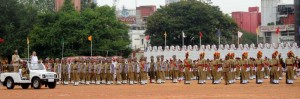 Chief minister B S Yeddyurappa  inspecting passingout parade  in  Manikshaw Parade Ground on the occasion of 63 rd independence Day celebrations in Bangalore.