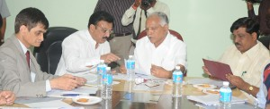 Sri Sai Prtap,Union minister of state for Iron discussing with Sri B S Yeddiyurappa ,Chief minister of karnataka in Bangalore on 25.08.2009.Sri Murugesh Nirani,minister for major and medium industries Govt,of karnataka were present.