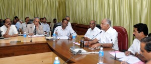 High  level meeting is held on To Complete The Devlopment works  of Shivamogga District . chief minister Discussing with conserned officers in Bangalore on 26.08.2009.Sri Halappa,minister for civil supplies and Sri Shankar Murthi ,were present.
