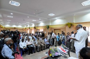 Chief minister B S Yeddiyurappa adressing in inaugural speech of newly renovated press club Building in Bangalore on 25.08.2009.