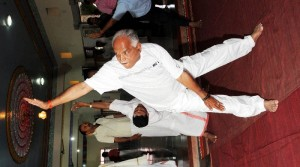 Chief Minister B S Yeddyurappa performing Yoga @ Sutturu
