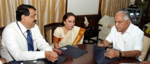 Chief Minister B S Yeddyurappa discussed with LIC Excutive Director Smt Sunitha Sharma