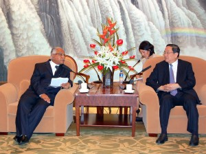 Chief Minister of Karnataka B S Yeddyurappa  Meeting with Mr. Yu Zhengsheng,Party Secretary of Shanghai China