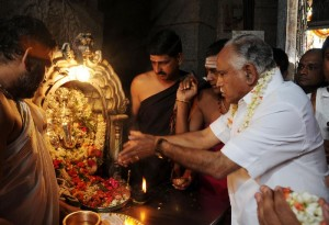 Chief minister B S Yeddyurappa offered pooja  for vinayaka at chamundeshwari Temple Premises at mysore