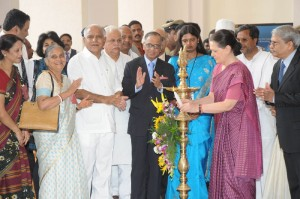 UPA Chairperson Smt  Sonia Gandhi Inagurated Infosys  Global Education Centre @ Mysore Infosys Campus.Chief Minister B D Yaddyurappa,Infosys Mentor N R Narayan Murthy, Smt Sudha Murthy,Information Technology Minister Katta Subramahanya Naidu,Infosys Chairman Mohandas Pai seen in picture