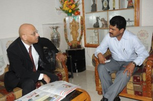 Shivamogga MP B Y Raghavendra met Indian  High Commissioner In Sweden  Balakrishna Shetty