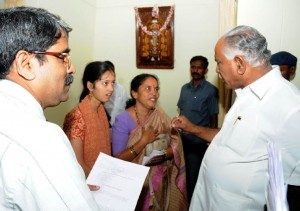 Miss Mamatha ,  D/o Mrs and Mr Sri Sundarshan (auto Driver) resident of katriguppe met chief minister B S Yeddyurappa in Cm's home office krishna Bangalore on 26.09.2009. complaint is  miss mamatha is suffering from wilsons Diseas stating that Treatment should be given life long and she is regularly consulting NIMHANS for the last 9 years.after Listening the case cm instructed The conserned Docter  for her life time Treatment from Govt.(miss mamatha met cm by 09.15 am  by 11.15 am she went happily)
