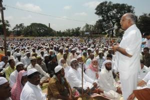 Chief Minister B S Yeddyurappa greeted Muslims @ Idga Maidan Shikaripura