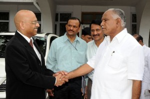 Chief Minister B S Yeddyurappa discussed with  Indian  High Commissioner In Sweden  Balakrishna Shetty