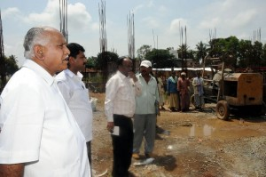 Chief Minister B S Yeddyurappa inspected devolopement Works @ Shikaripura MP B Y Raghavendra seen in pic