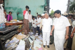 CM inspecting at Krishnananda Nagara