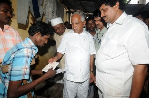 CM presented Cheque to the Handicap for who lost his cow