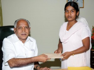 cm presented cash to Manjula R
