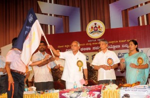 chief minister B S Yeddyurappa unveiled the flag on the occasion of international literacy day in Bangalore on 08.09.2009.