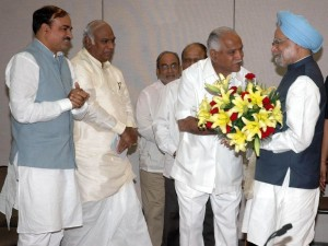 Karnataka delegation led by Hon'ble Chief Minister Mr B.S. Yeddyurappa called on the Hon'ble Prime Minister Dr. Manmohan Singh at New Delhi on 20th Oct 2009 and submitted a memorandum seeking central assistance for relief operations in the flood affected districts of North and coastal Karnataka. MP Mr Ananthkumar, Union Minister for Labour Mr. Mallikarjuna Kharge and JDU leader Dr M.P. Nadagowda and others are in the picture