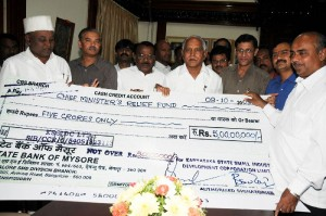 Cheque of Rs 5 Crore by KSSIC