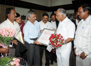 N Sri Raman ,managing Director of Mysore minerals Limited presented cheque Rs 8 crores Towards calamity fund on 16.10.2009