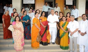 State IAS Officers wives Association President Ms.Suranjana presented Rs 1.40 Lakhs cheque to Chief Minister B S Yeddyurappa for CM calamity relief fund