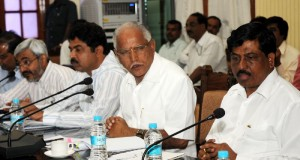 Chif minister B S Yeddyurappa,discussing with various Task force ,chairmans and secretaries of world investors conference on 23.10.2009 in Bangalore. .Sri Murugesh Nirani,minister for industries and Sri R Ashok,minister for Transport were present.