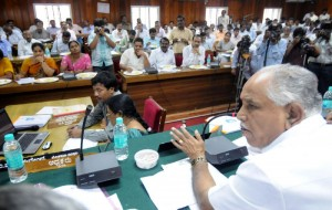 Chief minister Sri B S Yeddyurappa discussing with zilla panchayat members and officials on preparation meeting on 32nd National sub junior volleyball championship  2009 to be held in shivamogga
