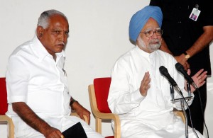 prime minister dr manamohan singh adressing press meet at raichur today(10-10-2009).chief minister of karnataka sri b.s. yeddyurappa  also seen in pic