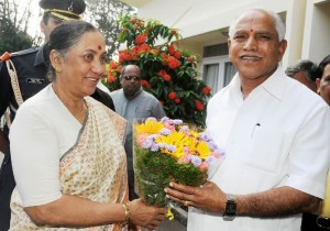 Chief Minister B S Yeddyurappa discussed with H E Smt Margaret Alva Governor of Uttarakand State to day @ Bangalore