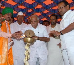 CM B.S.Yeddyurappa inaugurated laxadeepotsava of guru channa basavesha maha shivayogi's 25 th death annuarsary at mutyana babalad of gulbarga taluka today(20-11-2009).  cooperative minister sri laxman s savadi, animal husbandary minister sri revunayak belamagi, dr nanjundappa report implimentation commity president sri shahshil g namoshi and others were participated
