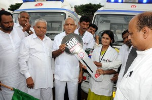 Chief Minister B S Yeddyurappa handed over Eight ambulances to hospitals IN kHANAPUR Belagavi Dist Prahlad Ramane Cooperation Minister Laxman Savadi @ Dist Minister Basavaraj Bommai seen in pic