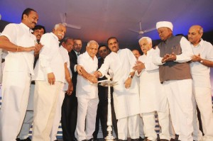 Chief Minister B S Yeddyurappa inaugurated Quest SEZ @ Hattaragi in Belagavi Dist.Union Aviation Minister of State Prafulla Patel,Ministers Umesh Katti,Murugesh R Nirani,Katta Subramhanya Naidu,Basavaraj Bommai,M P Suresh Angadi,Ramesh Katti,Founder of Quest Ajit Prabhu,Aravind Melligeri seen in pic