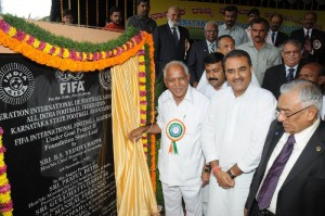 Chief minister B S Yeddyurappa laid The foundation  for international foot Ball Academy under FIFA Goal project II ,on 04.11.2009.in Bangalore Sri Praful Patel ,Honorable minister of state (indipendentcharge) civil Aviation and president All india foot Ball federation and Sri A R Khaleel,president of karnataka foot Ball Association were present.