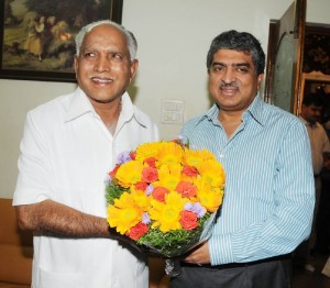 Chief Minister B S Yeddyurappa discussed Nandan Neelakeni Chairman Unique Identification Authority of India today at Bangalore