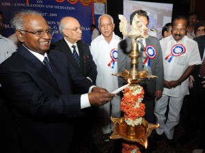 Honorable MR Justice K G Balakrishnan,chief Justice of India inaugurated  conference on ADR conciliation and Mediation in Bangalore on 12.12.2009.H E H R Bharadwaj,Governor of karnataka,Sri B S Yeddiyurappa,chief minister of karnataka and Sri Veerappa Moily,union minister for Law and Justice were present