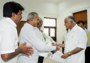 Sri Chikkanna ,MLA of Heggadedevanakote Assembly Constituency mysore Dist, conveyed Thanks to chief minister  for withdrawing The Chamalapura Power Plant. on 04.12.2009 in Bangalore Sri G V Seetharam,spokes person of  mysore District Rural congress Committee Also seen in picture