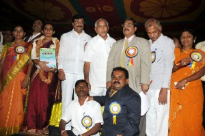 Chief Minister B S Yeddyurappa presented awards to organizations who served for disabled.Women & Children Welfare Minister Narendra Swamy Secretary Children & Welfare Department D S Ashvat seen in pic