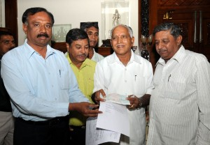 Rs 2 Lakhs  and cheque presented to chief minister calamity fund by Sri Nidhi Souharda co operative Bank limited  on 01.12.2009. in Bangalore. Sri R P S Reddy ,founder member of society,Sri Shankar Reddy and Sri Somashekar Reddy Directors were present