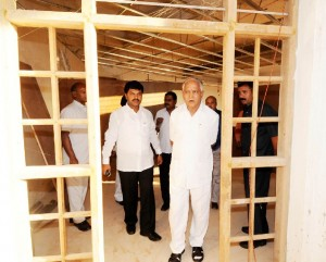Chief Minister B S Yeddyurappa inspected development works at Shivamogga.MP B Y Raghavendra seen in pic