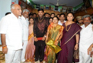 CM Wished Newly Married Couples & Som of M D Laxminarayan Chairman KHDC at Turuvekere