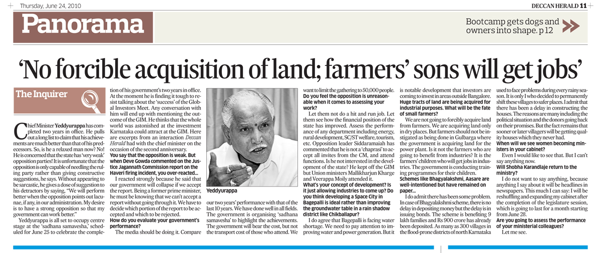 No forcible acquisition of land;farmers 'sons will get jobs'