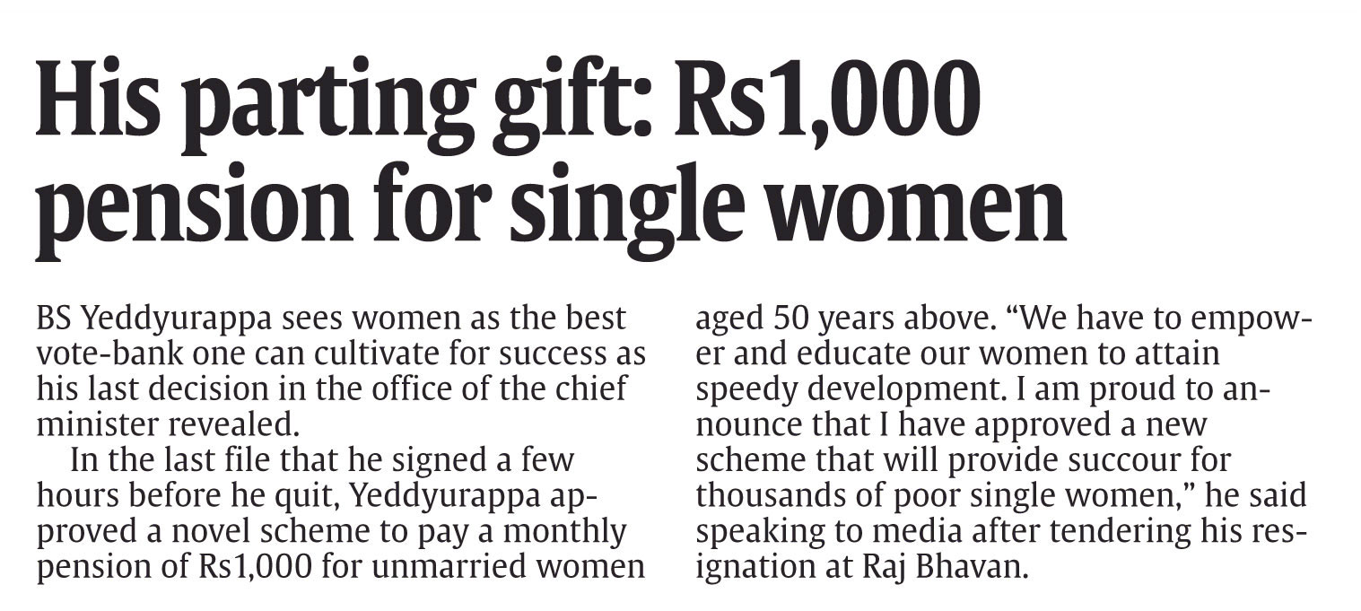 His Parting Gift: Rs.1000 Pension for Single Women