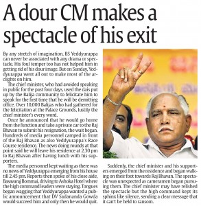 A Dour CM Makes a Spectacle of His Exit