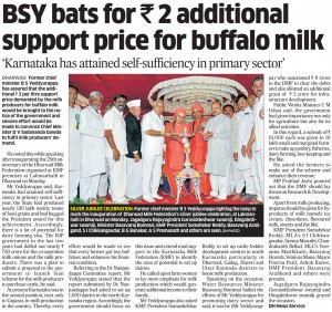 BSY bats for Rs 2 additional support price for buffalo milk