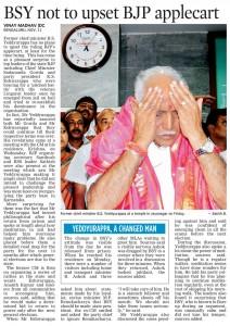 BSY not to upset BJP applecart