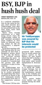 BSY, BJP in hush hush deal